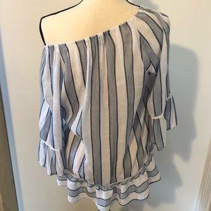 Zac & Rachel rayon blend  striped peasant top Sz S